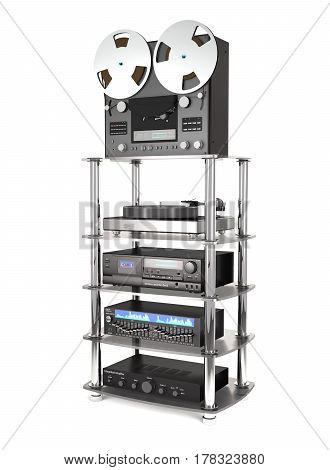 Rack with sound radio equipment on white background (3d illustration)