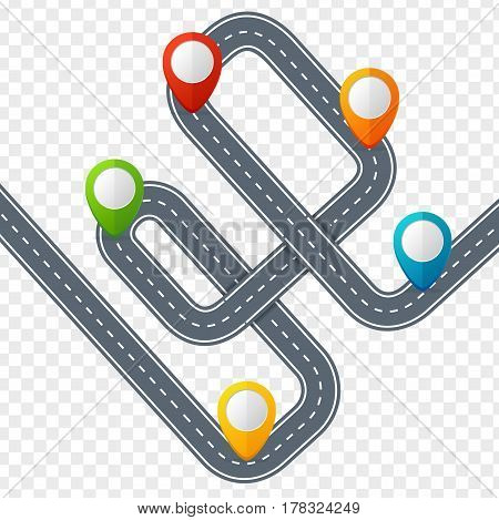 Road with Location Mark or Pin Pointer on Transparent Background. Vector illustration