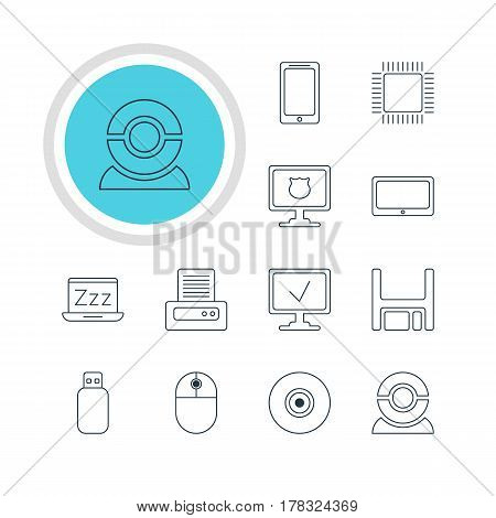 Vector Illustration Of 12 Computer Icons. Editable Pack Of Printer, Cursor Manipulator, Laptop And Other Elements.