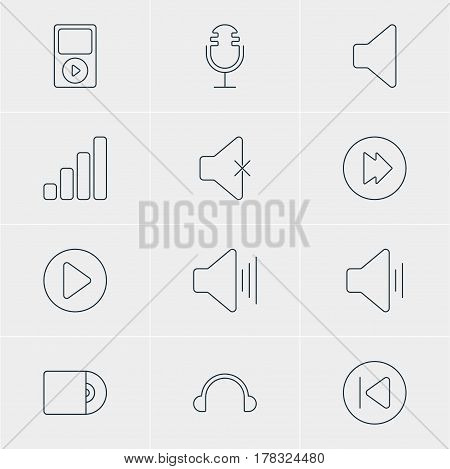 Vector Illustration Of 12 Melody Icons. Editable Pack Of Mp3, Advanced, Audio And Other Elements.