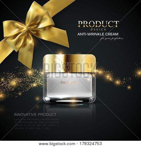 Cosmetics product ads. 3d vector beauty illustration of facial cream or scrub glass jar, wave of glittering sparkles and golden bow. Package mock-up for fashion magazine poster design.