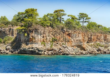 View of small bay of ancient city Phaselis. Olympos National Park Antalya Province Turkey