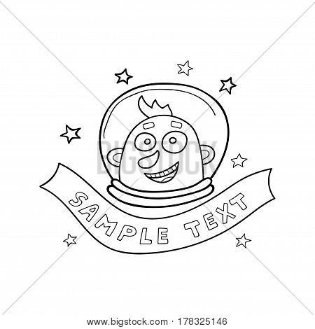 Vector illustration of astronaut and ribbon for text or title in sketch style. Space doodle