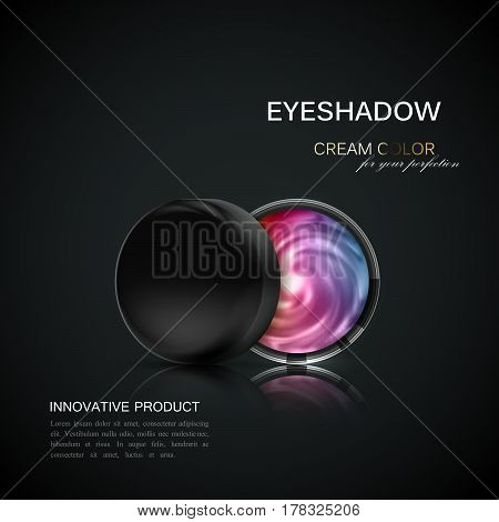 Beauty eye shadows ads. Cosmetics package design. 3d vector beauty illustration. Glamorous multicolored glowing eyeshadows. Cosmetic product package mock-up for fashion magazine