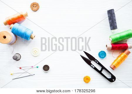 Tailor's Tools Isolated On White Space For Your Text