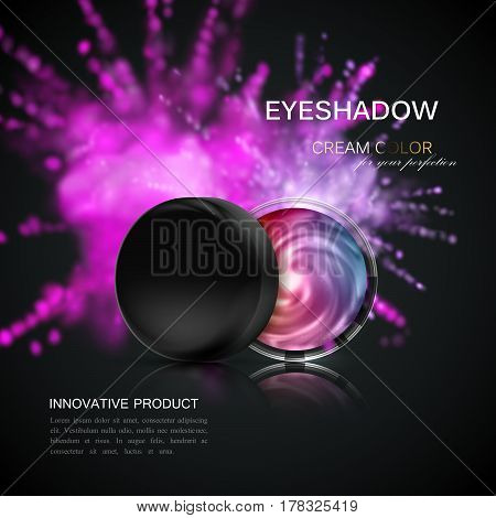 Eye shadows or blusher ad. Cosmetics product package design. 3d vector beauty illustration. Glamorous eyeshadows jar with dusty dye explosive splash. Product package mock-up for fashion magazine