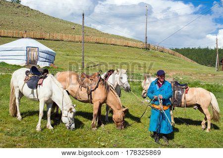 Hanh, Mongolia - July 27, 2016: Mongolian man offers horseback riding