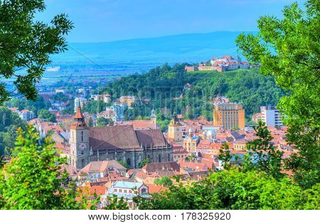 Cityscape Brasov - Beautiful panoramic view over romantic architecture of Brasov town Romania