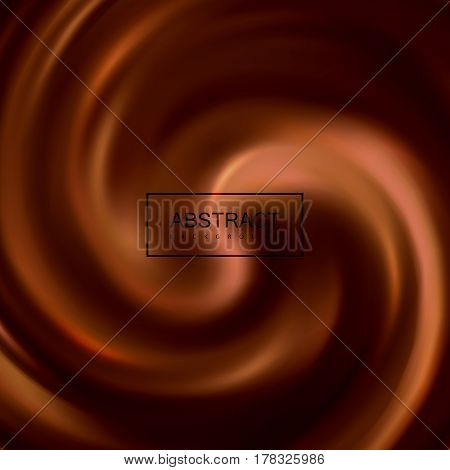 Swirling chocolate whirlpool. Vector illustration of twisted background. Chocolate texture imitation. Applicable for food products ads or packaging design