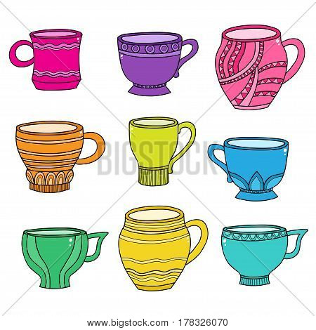 Vector doodle of cartoon color cups for tea or coffee isolated on white background.