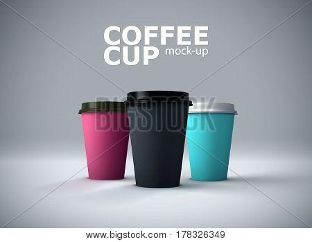 Paper coffee cups mock-up. Vector realistic 3d illustration. Beverage package mockup design for branding