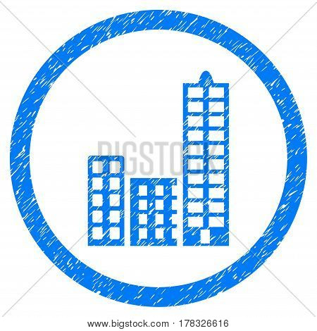 City grainy textured icon inside circle for overlay watermark stamps. Flat symbol with scratched texture. Circled vector blue rubber seal stamp with grunge design.