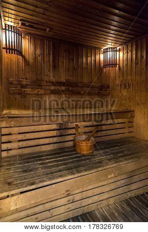 sauna room in spa treatment