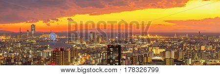 Osaka Skylines building sunset, Japan