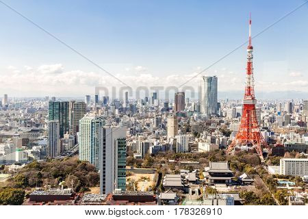 Tokyo Tower with skyline in Tokyo Japan