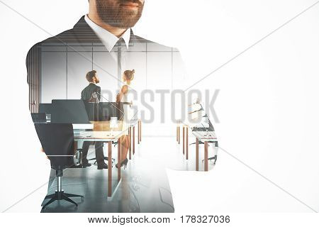 Thoughtful businessman thinking about meeting. Work concept. Double exposure