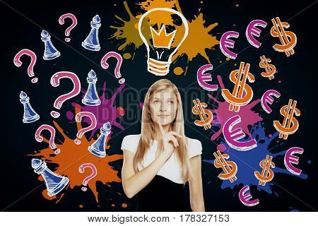 Thoughtful young businesswoman on dark background with drawn light bulb question marks and chess figures. Idea concept