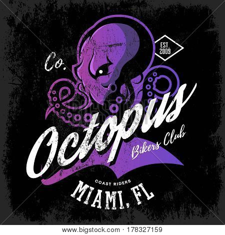 Vintage American furious octopus bikers club tee print vector design isolated on dark background.  Street wear t-shirt emblem. Premium quality wild cephalopod mollusk logo concept illustration.