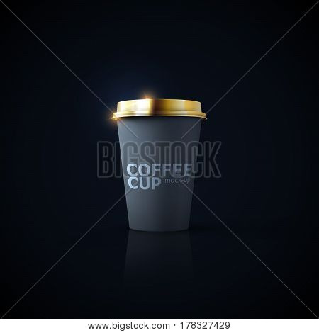 Paper coffee cup mock-up on black reflective background. Vector realistic 3d illustration of black coffee cup with golden cap. Package mockup design for branding
