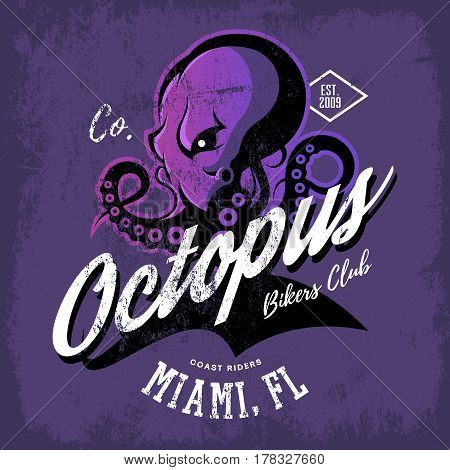Vintage American furious octopus bikers club tee print vector design isolated on purple background.  Street wear t-shirt emblem. Premium quality wild cephalopod mollusk superior logo concept illustration.