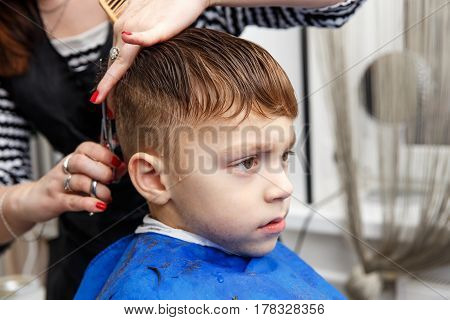 Little boy getting haircut by barber at barbershop