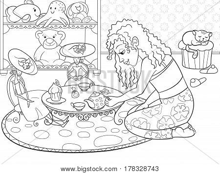 Children coloring vector girl in childrens room playing with dolls. Zentangle style. Black and white line