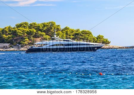 Landscape photo of luxury yacht on the mediterranean sea