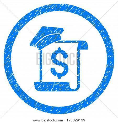 Education Invoice grainy textured icon inside circle for overlay watermark stamps. Flat symbol with unclean texture. Circled vector blue rubber seal stamp with grunge design.