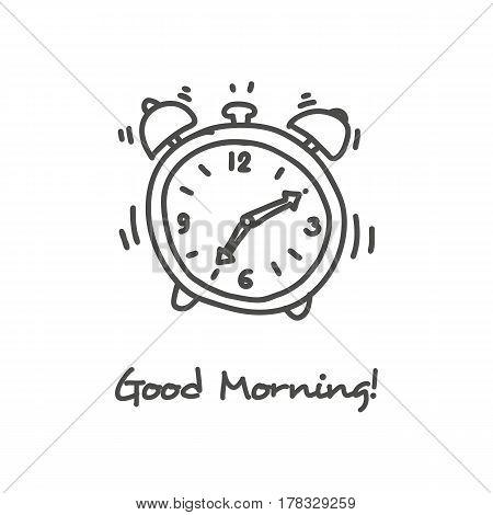 Ringing alarm clock hand drawn black icon
