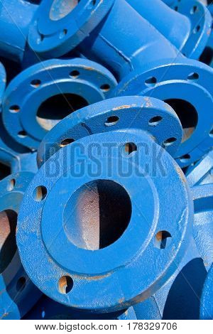 Blue iron industrial pipes as a background