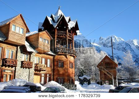 Wooden hotel in the mountains of Dombai Caucasus