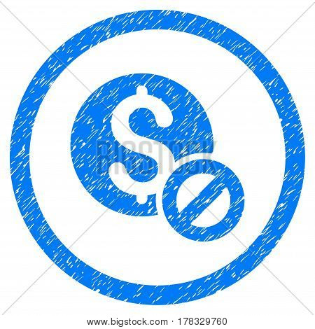 Free Of Charge grainy textured icon inside circle for overlay watermark stamps. Flat symbol with unclean texture. Circled vector blue rubber seal stamp with grunge design.