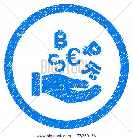 International Investment grainy textured icon inside circle for overlay watermark stamps. Flat symbol with unclean texture. Circled vector blue rubber seal stamp with grunge design.