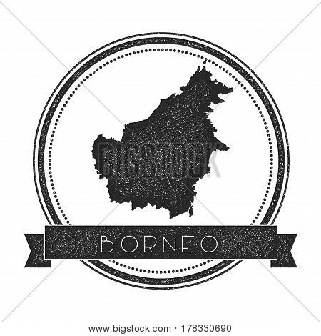 Borneo Map Stamp. Retro Distressed Insignia. Hipster Round Badge With Text Banner. Island Vector Ill