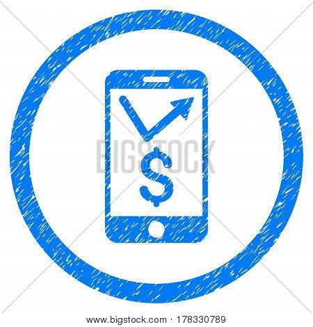 Mobile Sales Report grainy textured icon inside circle for overlay watermark stamps. Flat symbol with unclean texture. Circled vector blue rubber seal stamp with grunge design.