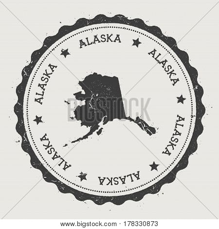 Alaska Vector Sticker. Hipster Round Rubber Stamp With Us State Map. Vintage Passport Stamp With Cir