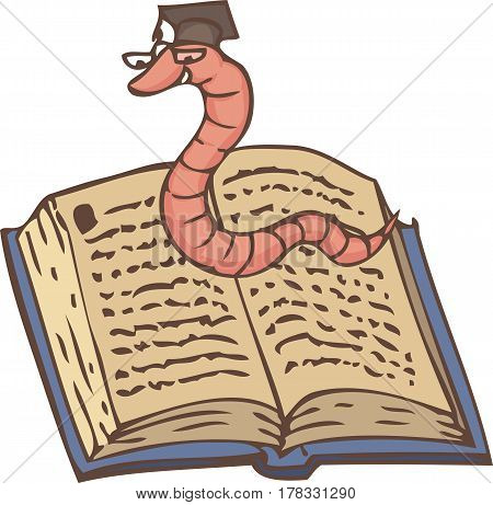 Bookworm on the Open Book with a Blue Cover. Isolated on White Background