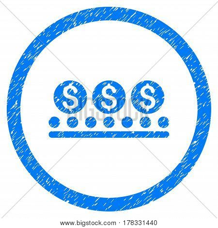 Money Conveyor grainy textured icon inside circle for overlay watermark stamps. Flat symbol with scratched texture. Circled vector blue rubber seal stamp with grunge design.