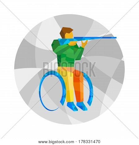 Physically Disabled Shooter Wuth Abstract Patterns. Wheelchair Sport Icon.