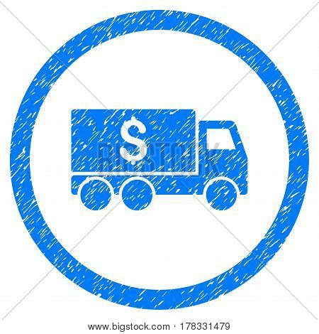 Money Delivery grainy textured icon inside circle for overlay watermark stamps. Flat symbol with dust texture. Circled vector blue rubber seal stamp with grunge design.