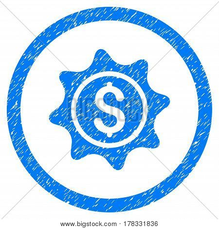 Money Sticker grainy textured icon inside circle for overlay watermark stamps. Flat symbol with dust texture. Circled vector blue rubber seal stamp with grunge design.