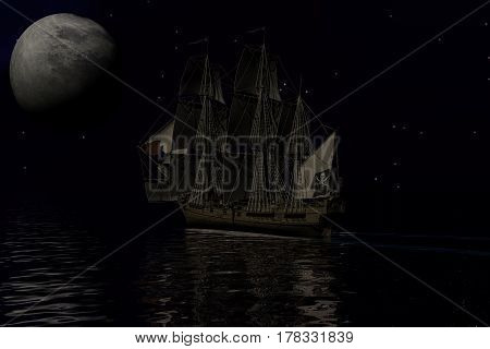 Pirate ship sailling at night with a full moon, 3d rendering