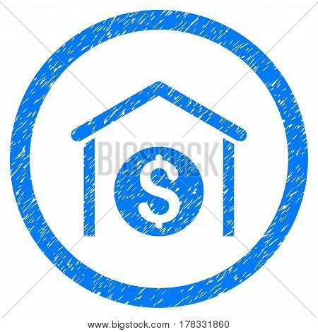 Money Storage grainy textured icon inside circle for overlay watermark stamps. Flat symbol with dust texture. Circled vector blue rubber seal stamp with grunge design.