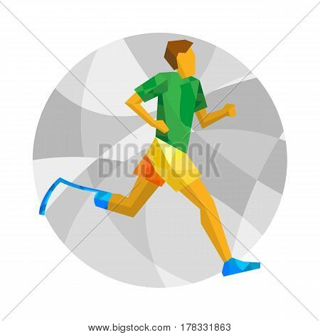 Physically Disabled Runner With Abstract Patterns. Flat Sport Icon.