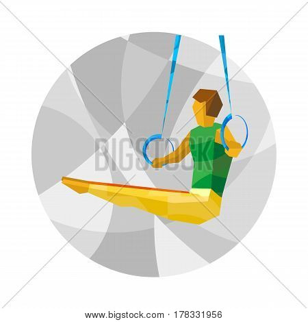 Artistic Gymnastics - Rings. Flat athlete icon - vector clip art. Sport sign on gray background with patterns.