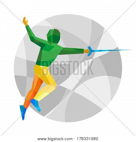 Fencer On Gray Background With Patterns