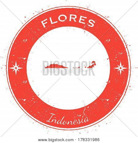 Flores Circular Patriotic Badge. Grunge Rubber Stamp With Island Flag, Map And Name Written Along Ci