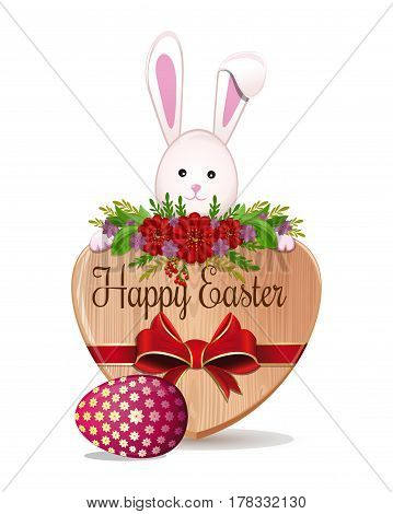 ute Easter Bunny, Easter egg and greeting inscription - Happy Easter. Easter. Easter design. Vector illustration