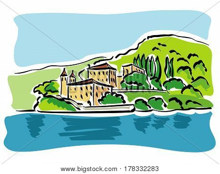 vector illustration of the most picturesque corners of Lake Como in Lombardy, the most famous lake in Italy