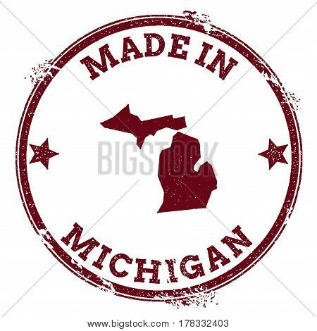 Michigan Vector Seal. Vintage Usa State Map Stamp. Grunge Rubber Stamp With Made In Michigan Text An